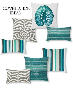 Tropical Leaf Sunbrella® Outdoor Pillows - Nautical Luxuries