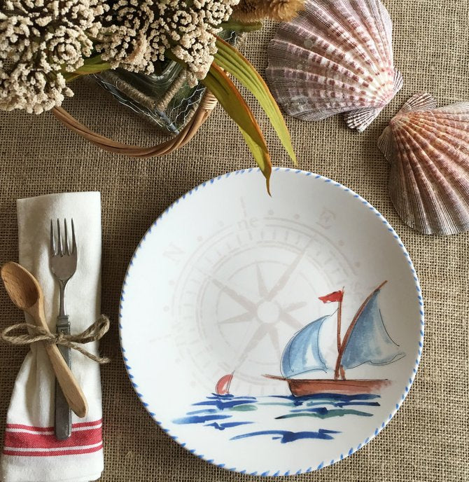 Italian Hand-Painted Ceramics/Barca a Vela - Nautical Luxuries