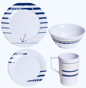 Non-Skid Cannes Stripe Melamine Dinnerware - Nautical Luxuries