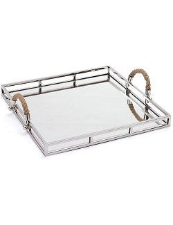Nautical Rope Handled Mirror Bar Tray