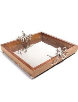 Denizens Of The Deep Wooden Bar Tray - Nautical Luxuries