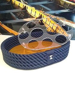 Italian Teak Inlay Rope Serving Trays
