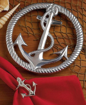 Classic Fouled Anchor Aluminum 2-Pc. Trivet Set - Nautical Luxuries