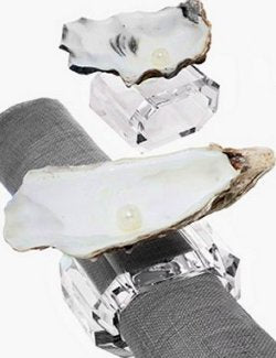 Pearl Oyster Crystal Napkin Ring Set - Nautical Luxuries