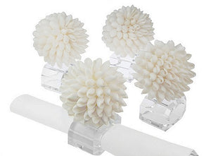 Exotic Shell Ball Crystal Napkin Ring  Set - Nautical Luxuries