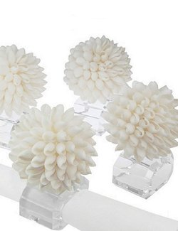 Exotic Shell Ball Crystal Napkin Ring  Set