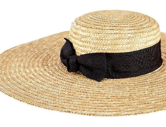 c47a39874343 Wide Brim Straw Boater Sun Hat - Nautical Luxuries