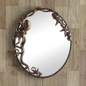 Denizen Of The Deep Coastal Wall Mirror/Oval - Nautical Luxuries
