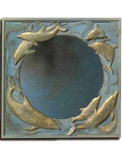 Dolphin Wave Cast Brass Mirror