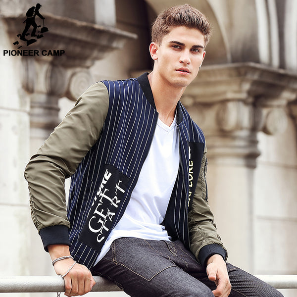 Pioneer Camp 2017 New spring Men Jacket brand clothing Striped Fashion Coat male top quality Casual Fit male Outerwear 611308