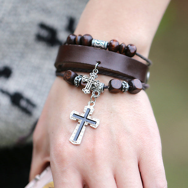 Knighted Retro Cross Bracelet