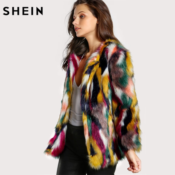 SHEIN Faux Fur Wildlife Jacket