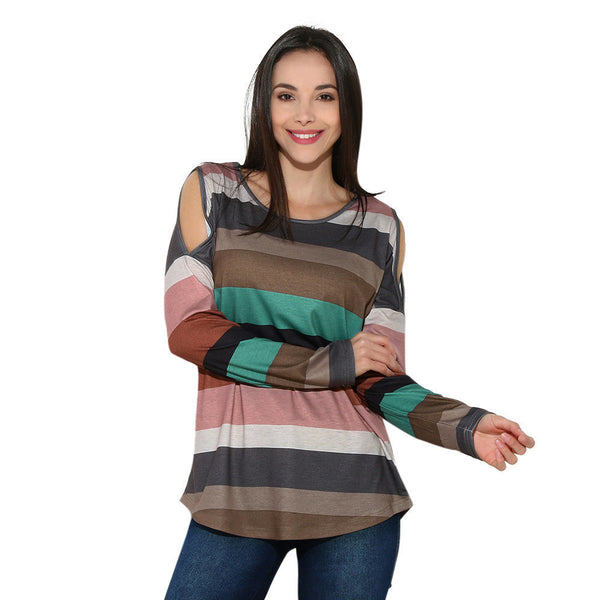 Gia Faded Rainbow Striped Sweater