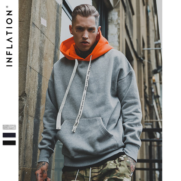 INFLATION Man Contrast Color Drop Hoodie