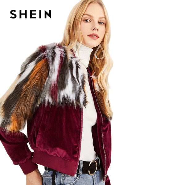 SHEIN Faux Fur Colour Journey Jacket