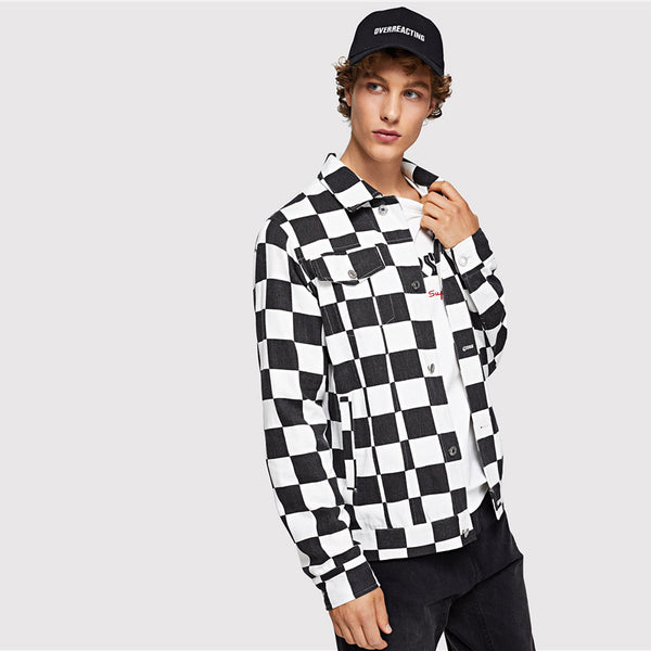 SHEIN Black and White Checked Jacket