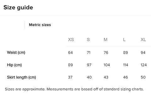 Art Mini Skirt Sizing Metric