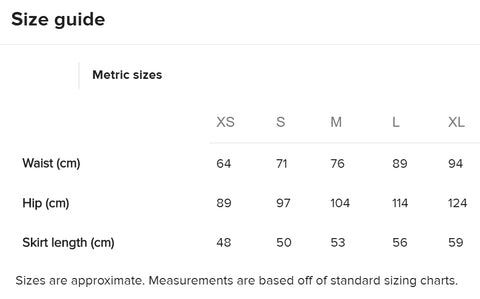 Art Skirt Sizing Metric
