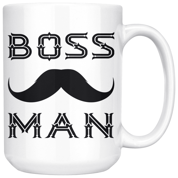 BOSS MAN With MUSTACHE Gift For Boss Day * White Coffee Mug 15oz. STYLE #2 - ArtsyMod.com