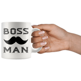 BOSS MAN With MUSTACHE Gift For Boss Day * White Coffee Mug 11oz. STYLE #1 - ArtsyMod.com