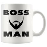 BOSS MAN With BEARD Gift For Boss Day * White Coffee Mug 11oz. STYLE #4 - ArtsyMod.com