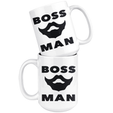 BOSS MAN With BEARD Gift For Boss Day * White Coffee Mug 15oz. STYLE #1 - ArtsyMod.com