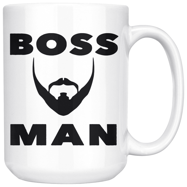 BOSS MAN With BEARD Gift For Boss Day * White Coffee Mug 15oz. STYLE #4 - ArtsyMod.com