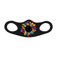 SUNFLOWER PUZZLE PIECES Face Mask Fitted Sublimation All Over Print (Black) - ArtsyMod.com