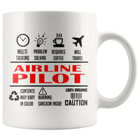 AIRLINE PILOT * Unique Gifts For Pilots * White Coffee Mug 11oz. - ArtsyMod.com