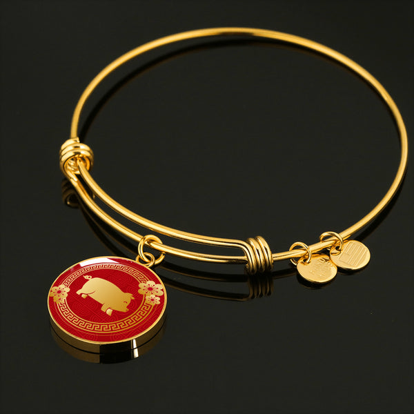 YEAR OF THE PIG Good Luck New Year Asian Elements & Flowers * Pendant Luxury Bangle Bracelet, Surgical Stainless Steel
