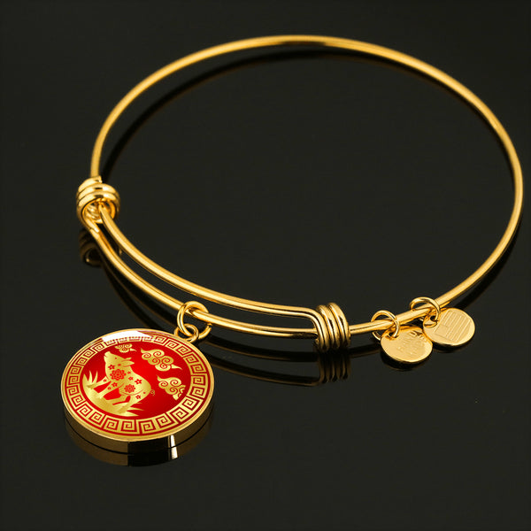 YEAR OF THE PIG Good Luck New Year Asian Elements * Pendant Luxury Bangle , Surgical Stainless Steel