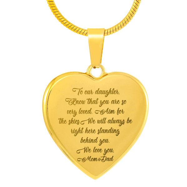 TO OUR DAUGHTER KNOW THAT YOU ARE SO VERY LOVED From MOM & DAD * High Quality Laser Engraved Heart Pendant Necklace, 18K Gold Plated