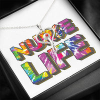 NURSE LIFE Tie Dye * Stethoscope Pendant Necklace - Stainless Steel - ArtsyMod.com
