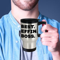 BEST EFFIN BOSS * Silver Stainless Travel Mug 14oz. CC - ArtsyMod.com