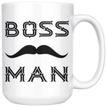 BOSS MAN With MUSTACHE Gift For Boss Day * White Coffee Mug 15oz. STYLE #5 - ArtsyMod.com