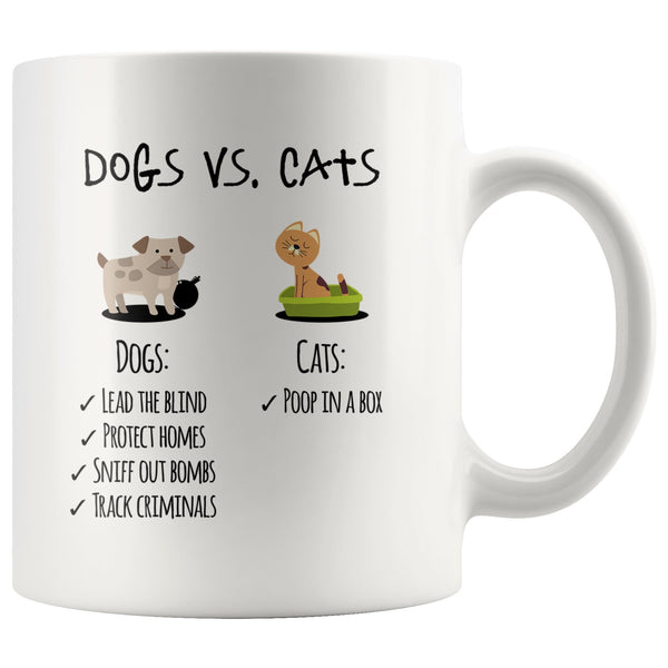 DOGS VS. CATS Funny Gift For Dog Lovers * White Coffee Mug 11oz. - ArtsyMod.com