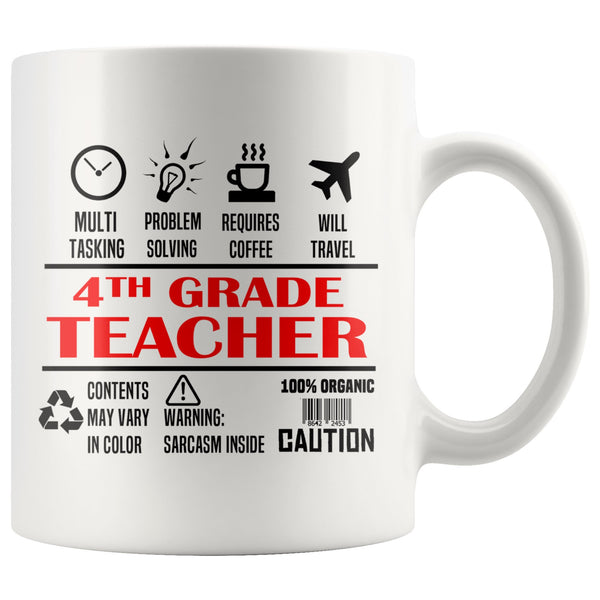 FOURTH GRADE TEACHER * Unique Gifts For School Teachers * White Coffee Mug 11oz. Drinkware Red/Black Print