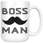 BOSS MAN With MUSTACHE Gift For Boss Day * White Coffee Mug 15oz. STYLE #1 - ArtsyMod.com