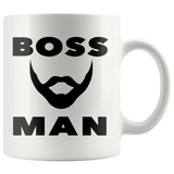 BOSS MAN With BEARD Gift For Boss Day * White Coffee Mug 11oz. STYLE #3 - ArtsyMod.com