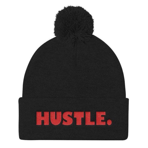 HUSTLE. Pom Pom Knit Cap Beanie - RED THREAD EMBROIDERY Knit Beanie Black