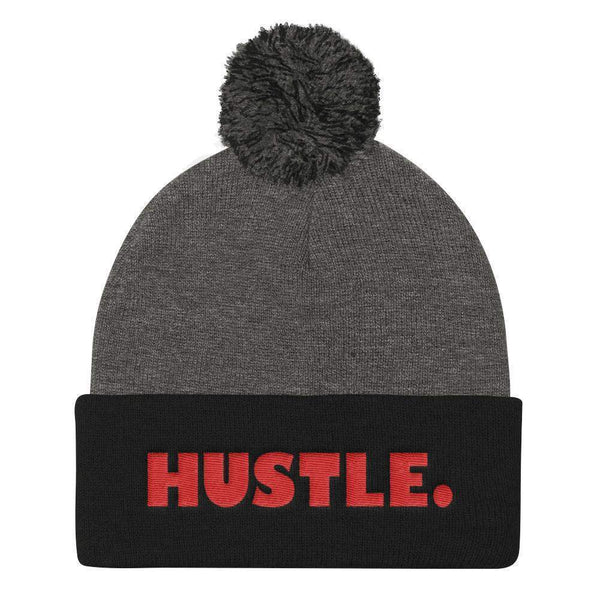 HUSTLE. Pom Pom Knit Cap Beanie - RED THREAD EMBROIDERY Knit Beanie Dark Heather Grey/ Black