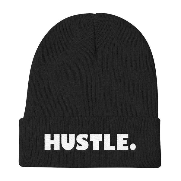 HUSTLE. Warm, Comfortable & Stylish Knit Beanie - WHITE THREAD EMBROIDERY - ArtsyMod.com