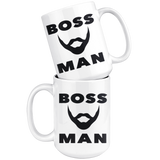BOSS MAN With BEARD Gift For Boss Day * White Coffee Mug 15oz. STYLE #3 - ArtsyMod.com