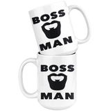 BOSS MAN With BEARD Gift For Boss Day * White Coffee Mug 15oz. STYLE #5 - ArtsyMod.com