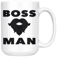 BOSS MAN With BEARD Gift For Boss Day * White Coffee Mug 15oz. STYLE #2 - ArtsyMod.com
