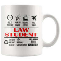 LAW STUDENT * Unique Gifts For Law School Students * White Coffee Mug 11oz. Drinkware Red/Black Print