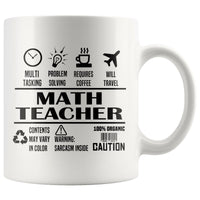 MATH TEACHER * Unique Gifts For School Teachers * White Coffee Mug 11oz. Drinkware Black Print