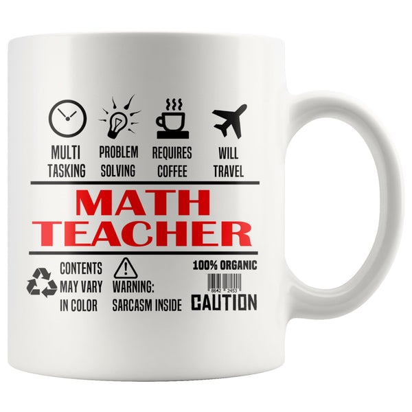 MATH TEACHER * Unique Gifts For School Teachers * White Coffee Mug 11oz. Drinkware Red/Black Print