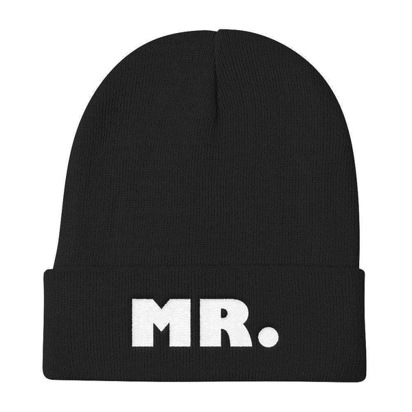 MR. Warm, Comfortable & Stylish Knit Beanie - WHITE THREAD EMBROIDERY Knit Beanie Black