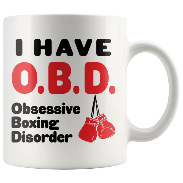 OBD OBSESSIVE BOXING DISORDER Funny Gift For Boxers * White Coffee Mug 11oz. Drinkware Red Gloves